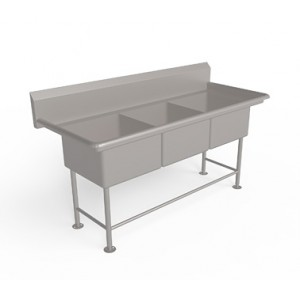 Three compartment sink unit without drain board