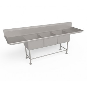 Three  compartment   Sink Unit with Drain Board