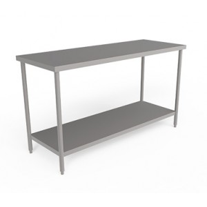 Stainless steel worktable  without backsplash and  with Undershelf