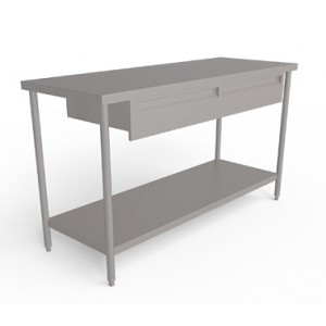 Stainless Steel Work Tables - Stainless steel work table with drawers