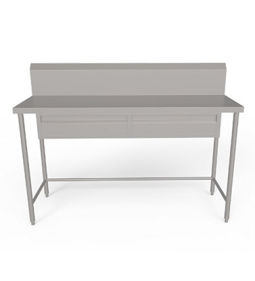 stainless steel work table with backsplash set of drawers and without undershelf