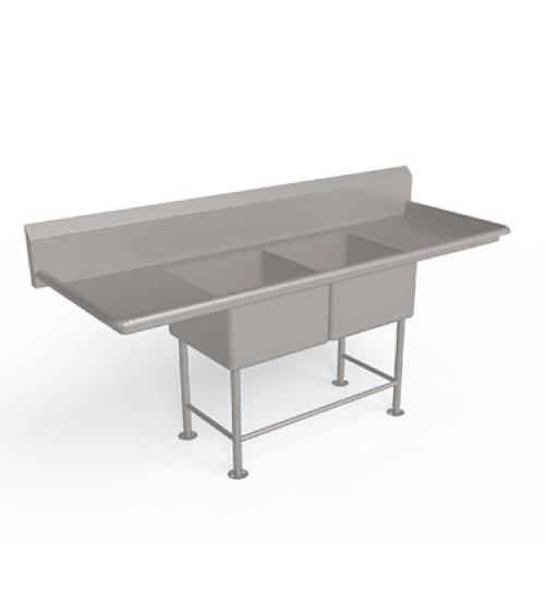 Double Bowl  Sink Unit with Drain Board