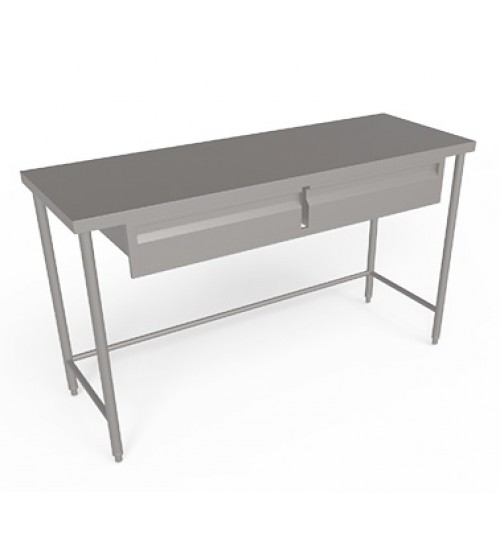 Stainless steel work table without Backsplash,  Undershelf and   with set of drawers