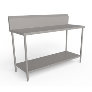 Stainless steel  work table  with Undershelf and with  back splash