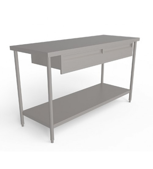 Stainless steel  work table  without Backsplash  and  with set of  drawers and undershelf